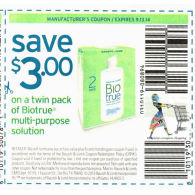 Biotrue $3/1 twin pack multi-purpose solution (9/13)