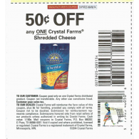Crystal Farms Shredded cheese x6/8 (save $.50 off 1)