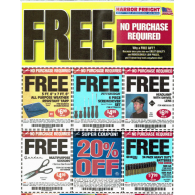Harbor Freight coupons-FREE Tarp, FREE screwdriver set, FREE Headlamp, FREE scissors, FREE 24pk batteries, 20% off (11/13) 5 full sheets of coupons**uncut