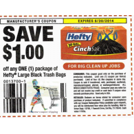 Hefty Large Black Trash Bags x6/30 (save $1 off 1)