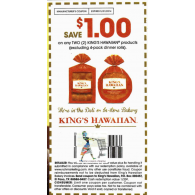 King's Hawaiian products, excluding 4-pack dinner roll  x5/31 (save $1 off 2)
