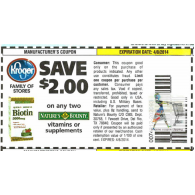 Kroger stores: Nature's Bounty Vitamins or supplements x4/8 (save $2 off 2)