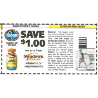 Kroger stores: Sundown naturals vitamins or supplement x4/8 (save $1 off 2)