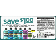 Listerine Mouthwash 1L or larger x4/12 (save $1 off 1)