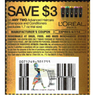 l'oreal Advanced Haircare shampoos and conditioners,excludes 1.7oz trial size x6/7 (save $3 off 2)