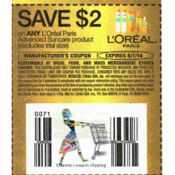 L'oreal Paris Advanced suncare product,excludes trial size x6/7 (save $2 off 1)