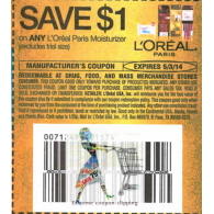 L'oreal paris moisturizer x5/3 (save $1 off 1)