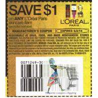 L'oreal Paris skincare item x5/3 (save $1 off 1)