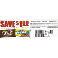 M&M's $1/1 chocolate Candies (9.4 oz or larger) (8/24) dnd