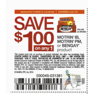 Mortin IB, motrin Pm , Bengay x4/27 (save $1 off 1)