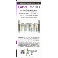 Neutrogena Rapid Wrinkle Repair or Tone Repair product x1/31 (save $2 off 1)