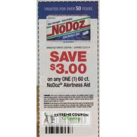 NoDoz $3/1 Alertness Aid 60ct (12/31)