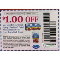 Ocean Spray $1/1 Craisins Dried Cranberries 5oz or 6ct, 1oz snack pack boxes (2/21) do not double