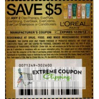 L'oreal, L'Oreal, loreal $5/2 OleoTherapy, EverPure, EverStrong, EverSleek, EverCreme, EverCurl Shampoo or Conditioners (12/20)