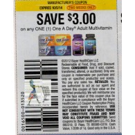 One A Day $3/1 Adult Multivitamin (10/5)