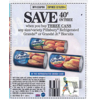 Pillsbury $.40/3 Refrigerated Grands! or Grands! Jr. Biscuits (12/13)