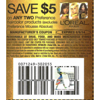 L'Oreal $5/2 preference haircolor products excludes preference mousse absolue (8/9)