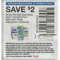 Right Guard $2/2 clinical Clear, Total Defense 5 or Right Guard Xtreme Antiperspirant or Deodorants (11/15)