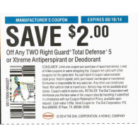 Right Guard $2/2 total defense 5 or xtreme antiperspirant or deodorant (8/10)