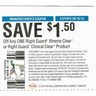 Right Guard $1.50/1 xtreme clear or clinical clear product (8/10)