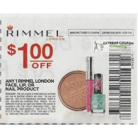 Rimmel London $1/1 Face, Lip, or Nail product (12/31)