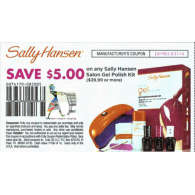 Sally Hansen $5/1 salon gel polish kit 39.99 or more (8/31)
