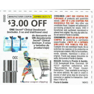secret clinical deodorant, excludes .5 and trial/travel size x5/31 (save $3 off 1)