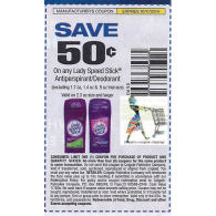 Lady Speed stick $.50/1 antiperspirant/deodorant, 2.3 oz or larger (10/11)