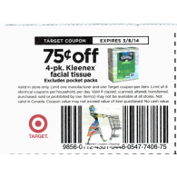 Target coupons Kleenex facial tissue 4-pk x3/8 (save $.75 off 1)