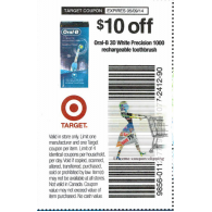 Target coupons Oral-b 3D White Precision 1000 rechargerable toothbrush x5/9 (save $10 off 1)