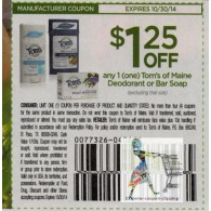 Tom's of Maine $1.25/1 Deodorant or Bar Soap ets (10/30)