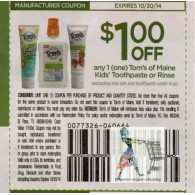 Tom's of Maine $1/1 Kids Toothpaste or rinse, excluding trial size and toothpaste under 4oz (10/30)