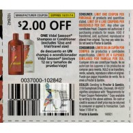 Vidal Sassoon $2/1 shampoo or conditioner excludes 12oz and trial (10/31)