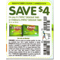 Zyrtec $4/1 adult or children's dissolve tabs 12ct or 24ct (8/15)